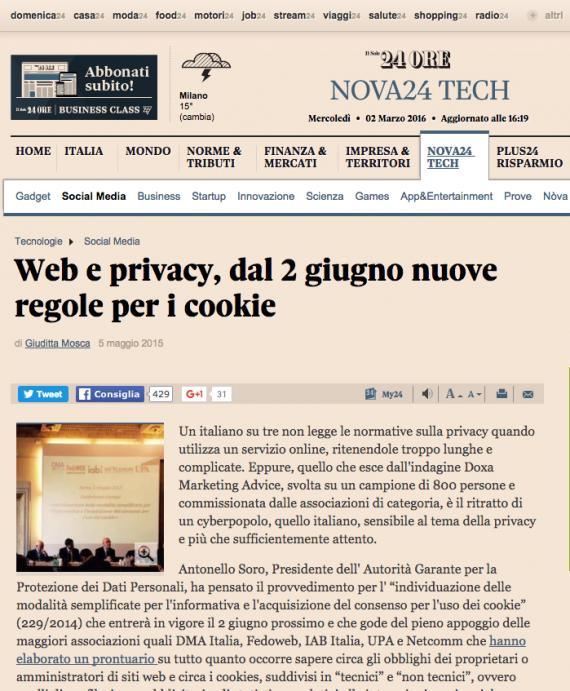 Web e privacy, dal 2 Giugno nuove regole per i cookie