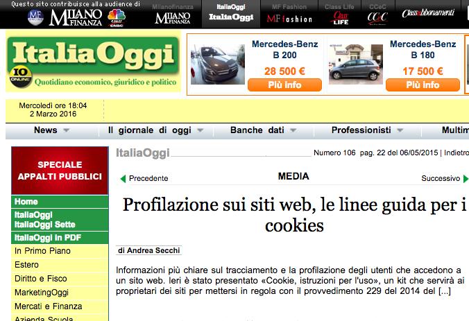 Profilazione sui siti web, le linee guida per i cookies