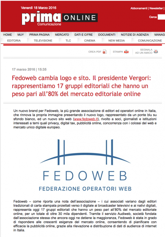 Primaonline – Fedoweb cambia logo e sito