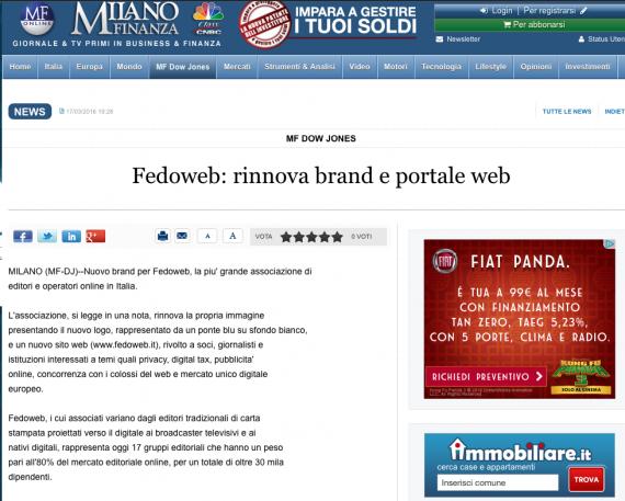 Milano Finanza – Fedoweb: rinnova brand e portale web