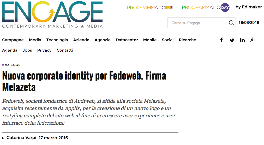 Engage – Nuova corporate identity per Fedoweb