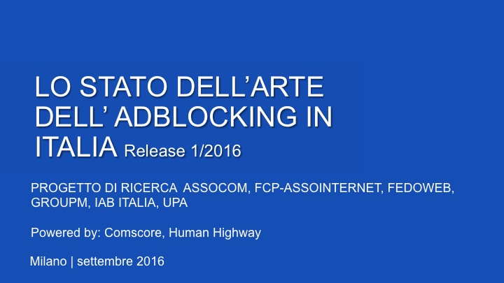 LO STATO DELL'ARTE DELL'AD BLOCKING IN ITALIA
