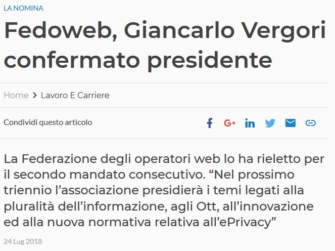Fedoweb, Giancarlo Vergori confermato presidente