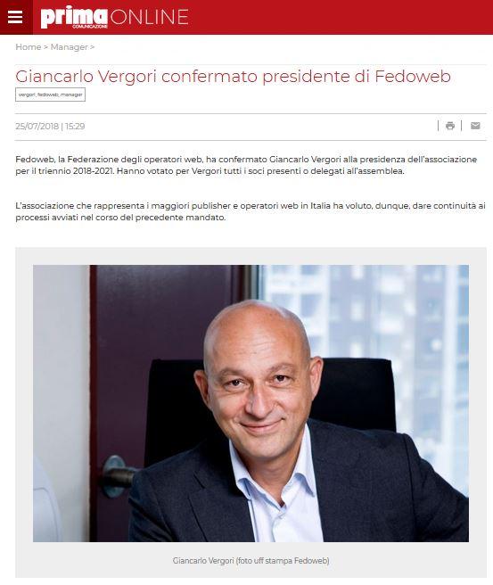 Giancarlo Vergori confermato presidente di Fedoweb